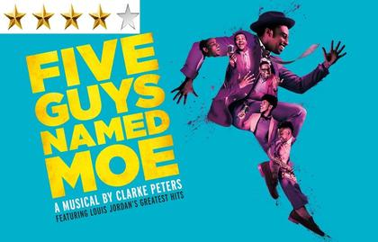 Promotional poster for Five Guys Named Moe musical production